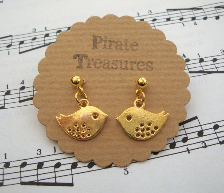 Bird earrings, gold bird charms, studs, vintage inspired cute kitsch style by PirateTreasures on Etsy
