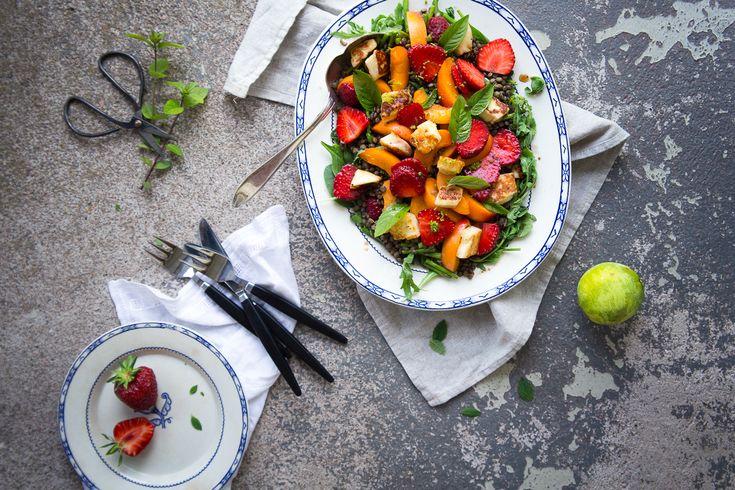 Summer Lentil Salad with Apricots, Strawberries & Halloumi | Cashew Kitchen