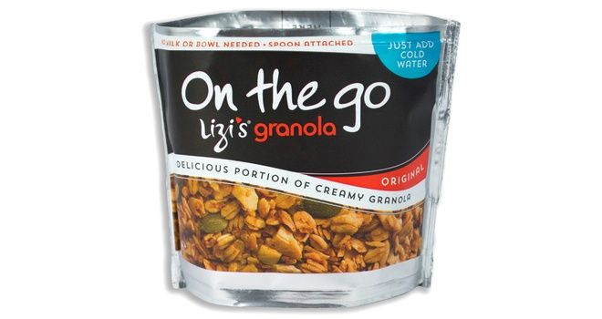 Lizi's Granola On The Go is a single serving of granola in a self-contained pouch and spoon pack. #packaging