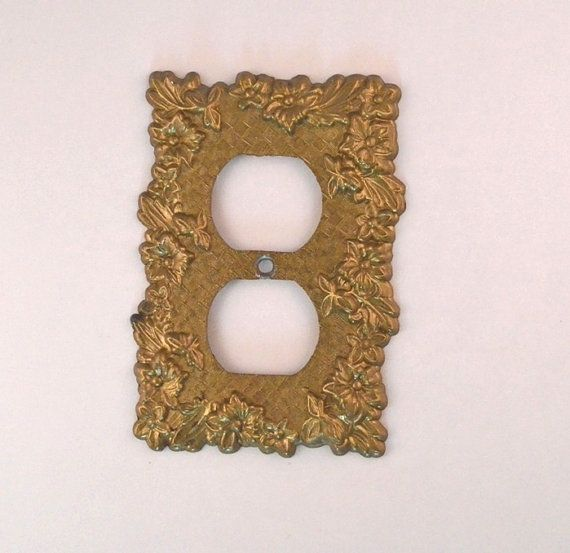 Vintage 1960's Brass Metal Electrical Outlet Cover by FarahsAttic, $5.00