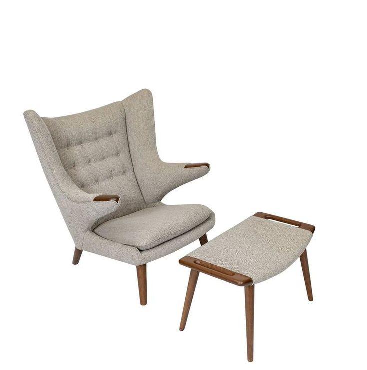 "Hans Wegner ""Papa Bear"" Chair and Footstool 2"