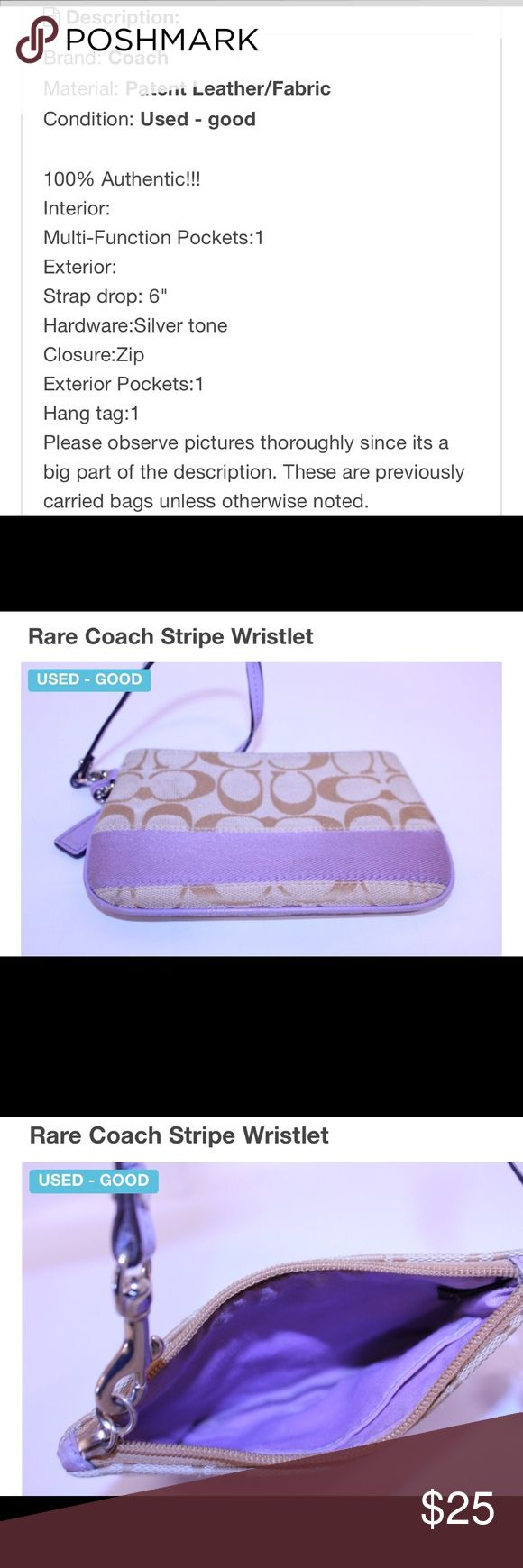 """Rare Coach Stripe Wristlet Description: Brand: Coach Material: Patent Leather/Fabric Condition: Used - good  100% Authentic!!!  Interior:  Multi-Function Pockets:1  Exterior:  Strap drop: 6""""  Hardware:Silver tone  Closure:Zip  Exterior Pockets:1  Hang tag:1  Please observe pictures thoroughly since its a big part of the description. These are previously carried bags unless otherwise noted. Coach Bags Clutches & Wristlets"""