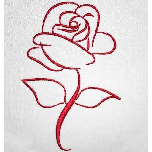 Embroider a simple yet elegant rose design with smooth lines and beautiful twirls to decorate your favourite item.   You receive: 4 x Designs (choose between a one-color design or two-tone)  Hoop Size: 2 x 4*4 Hoop 2 x 5*7 Hoop