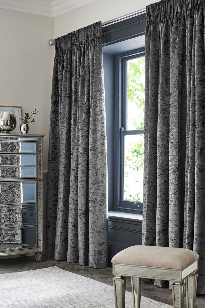 Next Crushed Velvet Pencil Pleat Lined Curtains Grey Velvet Curtains Bedroom Grey Curtains Velvet Bedroom