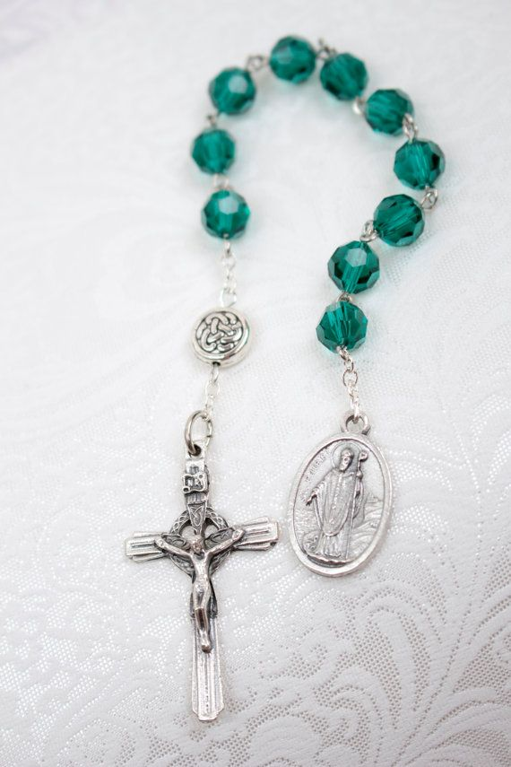 St Patrick Green Celtic Irish One Decade Pocket Rosary, Catholic Prayer Beads on Etsy, $10.00