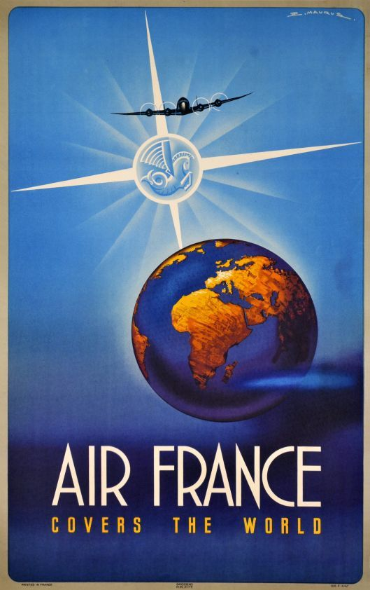 Air France vintage travel poster ~ 'Air France covers the world.'