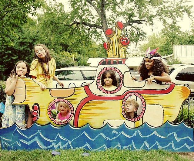 Yellow submarine party photo op. Ideally you would put a blue tarp behind this for a nice background.