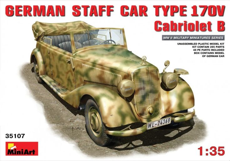 Maquette - GERMAN CAR TYPE 170V  Cabriolet B - MINIART 35107 - La Mercedes Benz 170 V Cabriolet B était une voiture produite entre 1937 et 1942 et en usage dans l'armée allemande