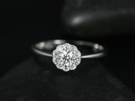 Magnolia 18kt Floral Diamond Cluster Engagement Ring (Available in other metals and stones). $1,015.00, via Etsy.
