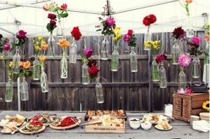 garden party fav: Decor, Wedding Ideas, Hanging Flowers, Flowers In Bottle, Wine Bottle, Parties Ideas, Gardens Parties, Flowers Vase, Backyard Wedding