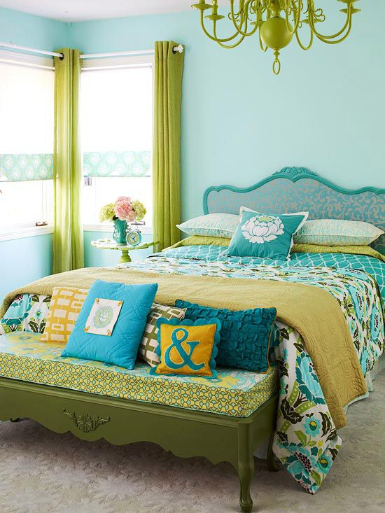: Guest Room, Interior, Color Schemes, Blue, Green, Colors, Bedrooms, Bedroom Ideas