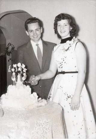 Charles Manson and Rosalie Jean Willis at their 1955 wedding