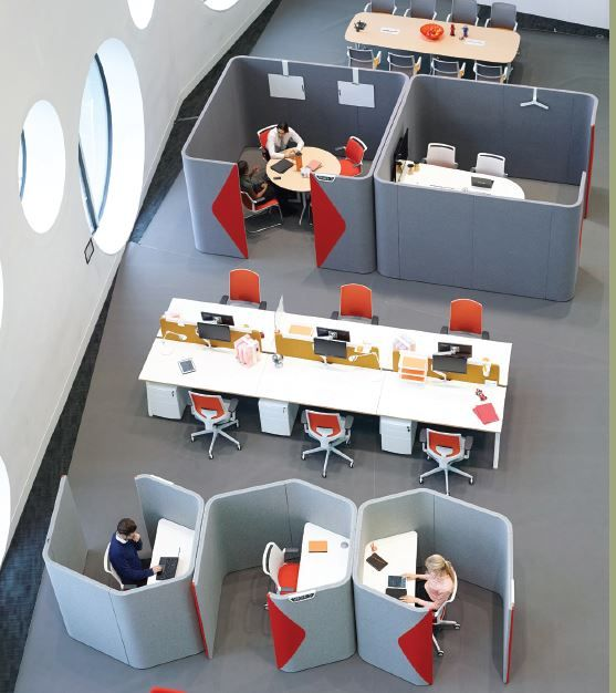"Allermuir Haven Pod furniture system to max out floor space and for collaboration or focus. www.CorporateCare.com  I like the idea of creating ""sub-environments"" in a main environment"