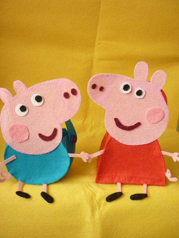 Peppa Pig and George Pig favor bags PDF patterns by HadaDeFieltro