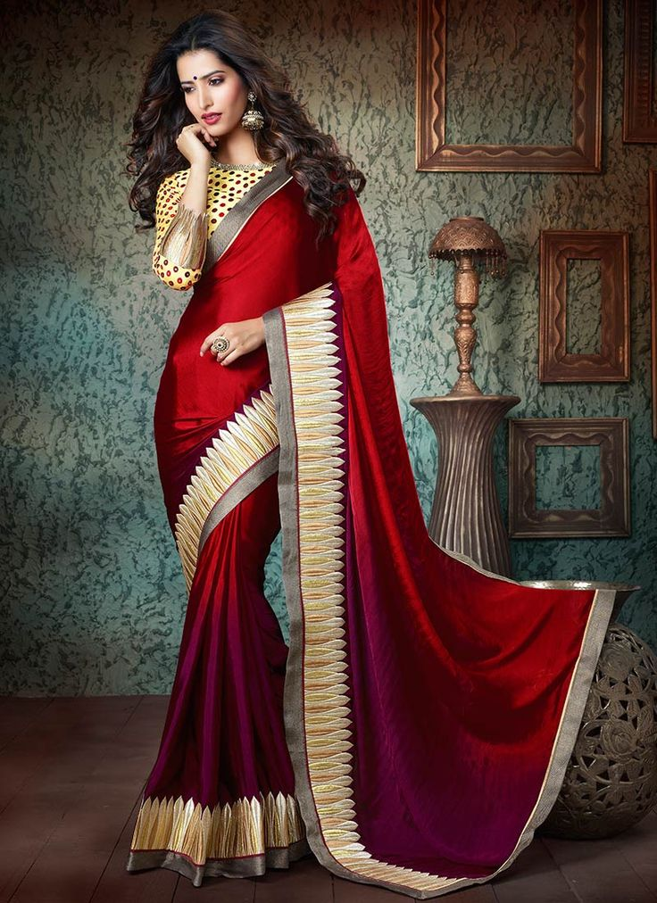 Red Crepe #Saree
