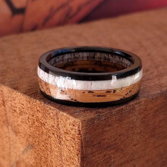 Elk Antler Ring   Whiskey Barrel Ring   Wooden Ring   Wooden Rings for Men  Best 25  Mens wooden wedding bands ideas on Pinterest   Wood  . Mens Wedding Bands With Wood. Home Design Ideas