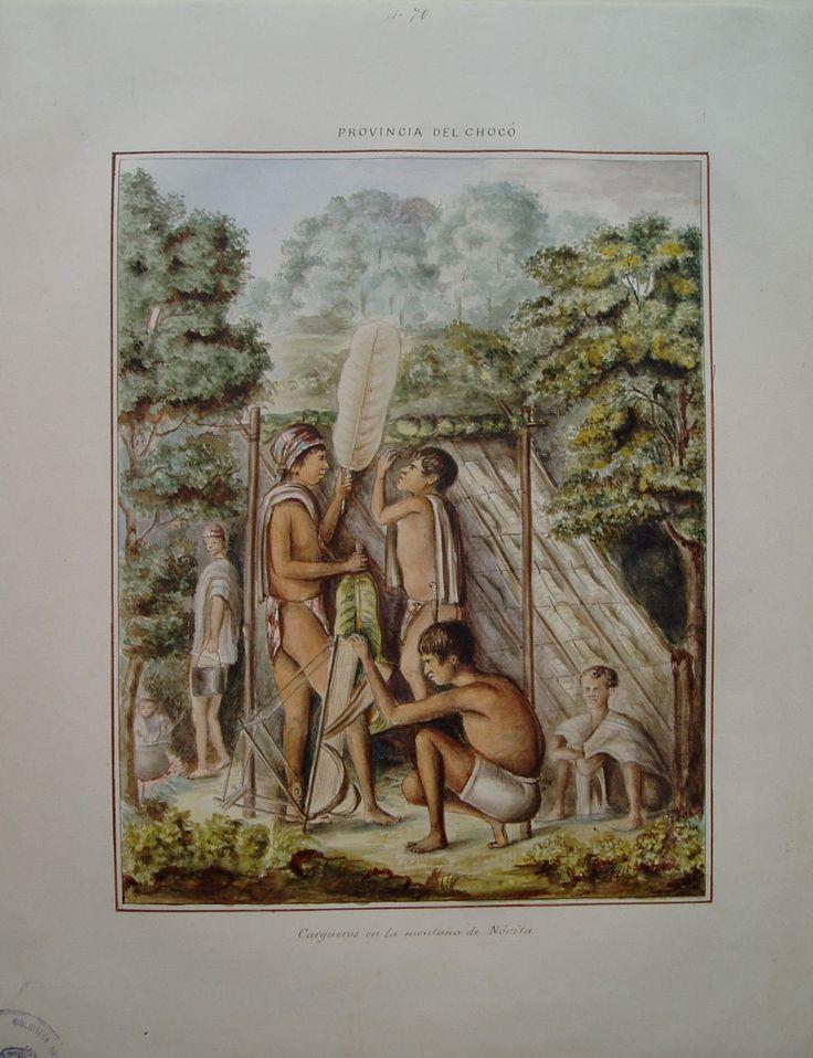 """""""Cargueros en la montaña de Nóvita. Provincia del Chocó"""". Manuel María Paz, 1853. BNC, 5016."""