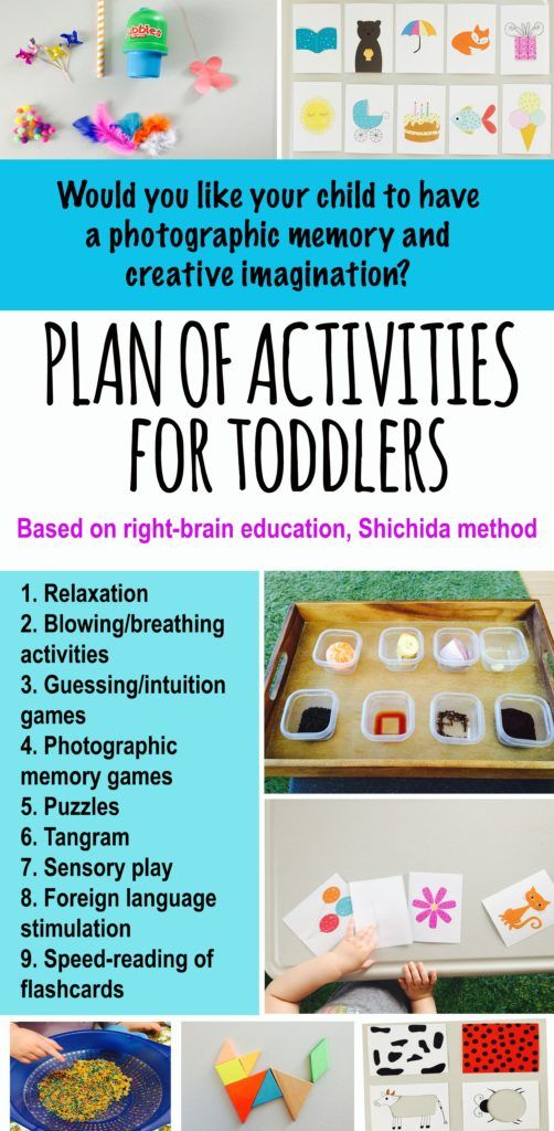 Plan of activities based on Dr Shichida method of right brain development - photographic memory skills, instant calculations, creative thinking. Shichida method. Educational activities for toddlers. Educational activities for pre-schoolers. Memory games for kids. Right brain development. Activities for two year old, activities for three year old, activities for four year old.