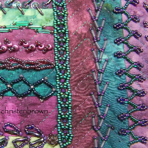 Beaded embroidery embellishments with crazy quilting