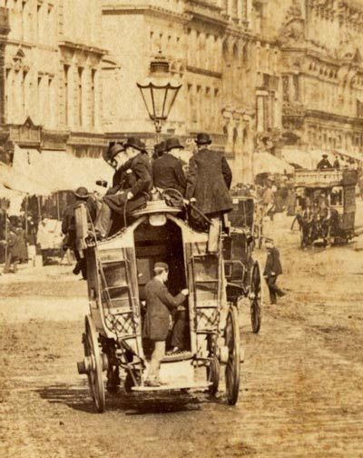 A horse-drawn omnibus on Lord Street in Liverpool, England. 1880.