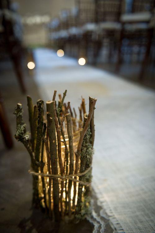 Twig Votive Holders At Rustic Wedding