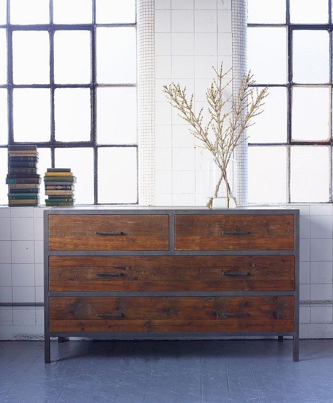 industrial style bedroom furniture four drawer chest