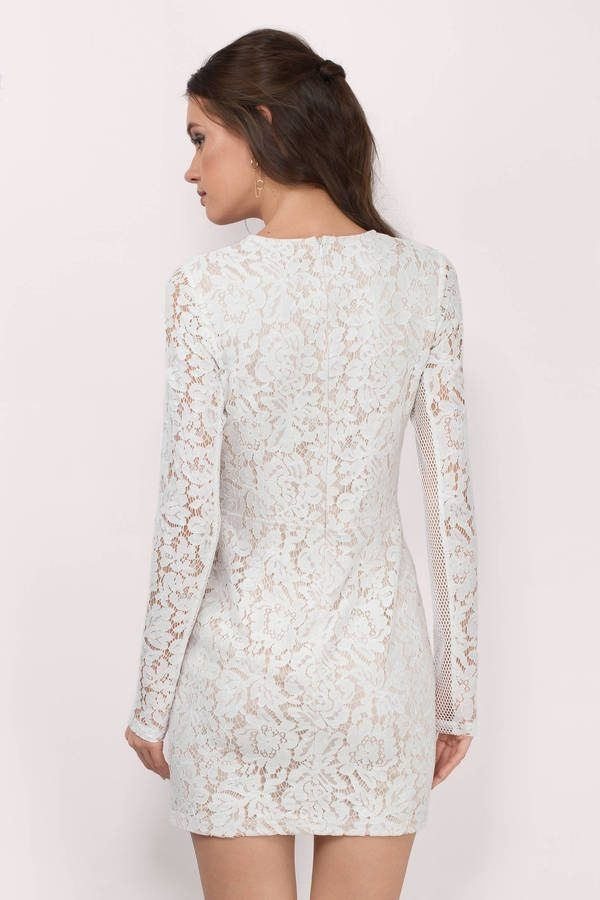 White Lace Bodycon Dress With Sleeves http://www.top-dresses.com/white-lace-bodycon-dress-with-sleeves-1441/