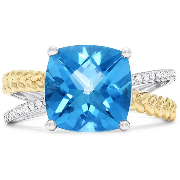 Effy Jewelry Effy 14K Two Tone Gold Blue Topaz and Diamond Ring, 4.59... (3.385 BRL) ❤ liked on Polyvore featuring jewelry, rings, 14k ring, blue topaz diamond ring, blue topaz rings, 14 karat gold diamond ring and blue topaz yellow gold ring