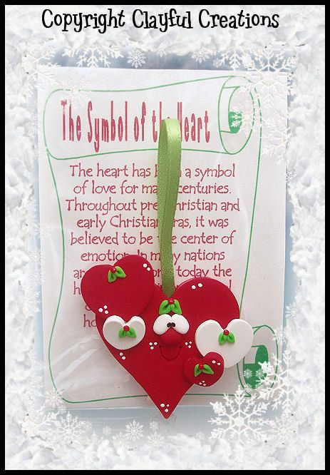 Becky's Polymer Clay Heart Story Ornament por clayfulcreations
