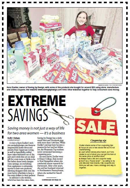 Check out Saving by Design in the local newspaper, The Citizen's Voice!  Woohoo!