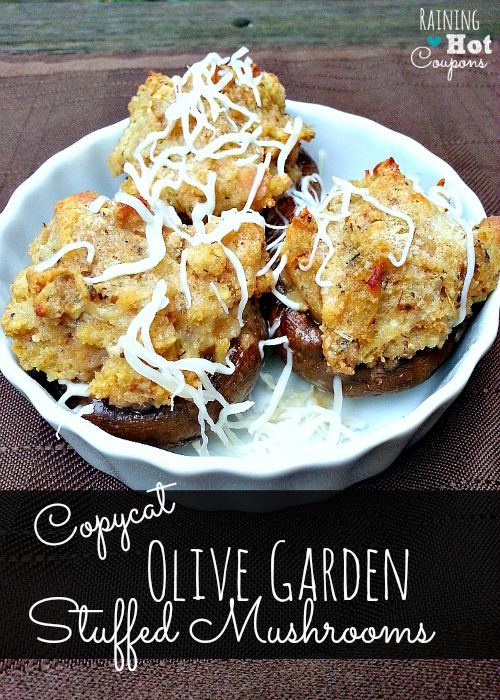 Copycat Olive Garden Stuffed Mushrooms Recipe - 8-12 large white mushrooms, cleaned, stems removed and discarded 1 6 oz can minced clams, ¼ C of juice reserved 1 egg ¾ t garlic, minced ? t garlic salt 1 t oregano 1 T butter, melted ½ C bread crumbs 3 T Parmesan cheese, grated 2 T mozzarella cheese, finely shredded ¼ C butter, melted ¼ C mozzarella cheese, finely shredded