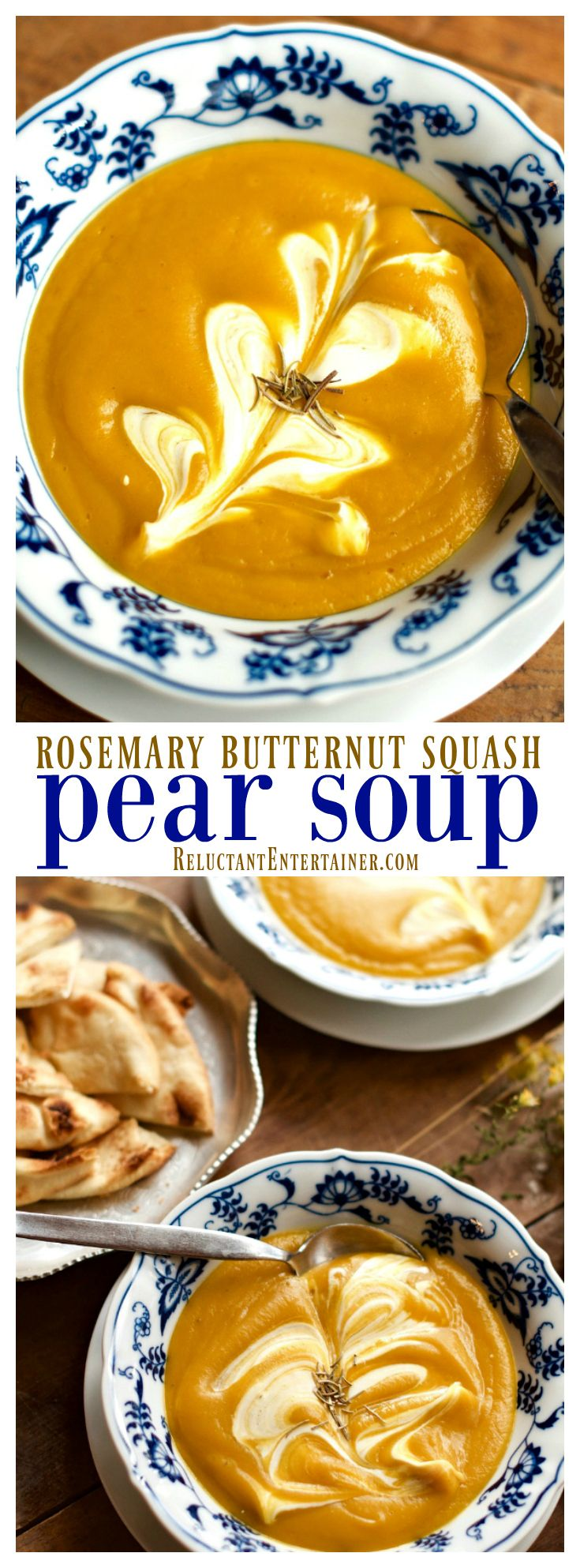 Rosemary Butternut Squash Pear Soup at ReluctantEntertainer.com