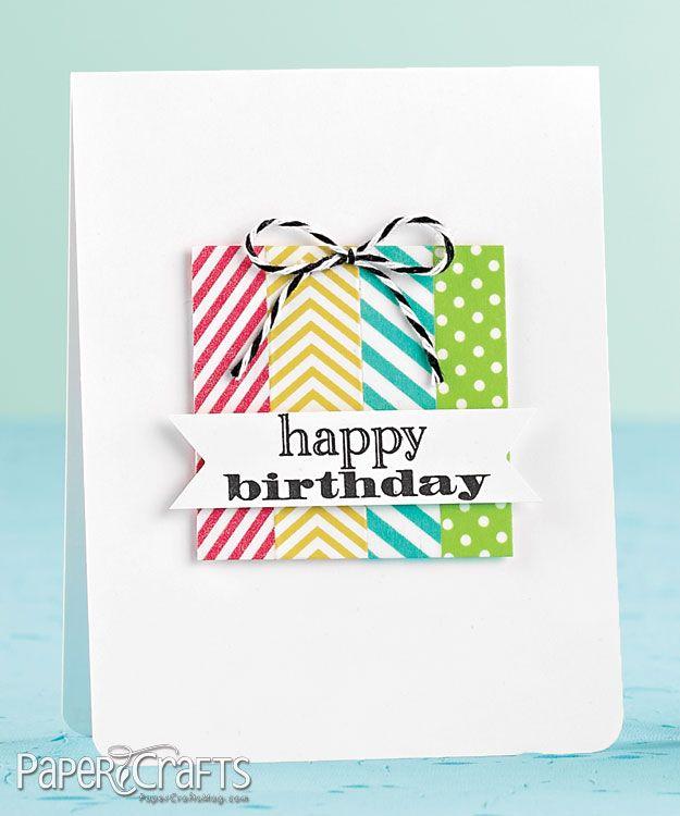 Washi tape birthday gift card, by Kelly Rasmussen