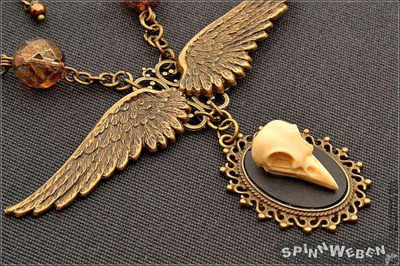 Steampunk Wings Bird Skull Necklace  Demon brass by SpinnWeben