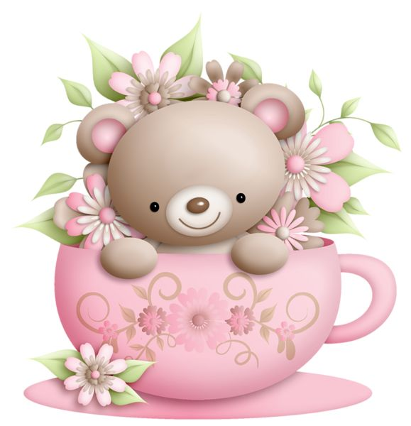 Cup and Teddy with Flowers Decoration PNG Clipart