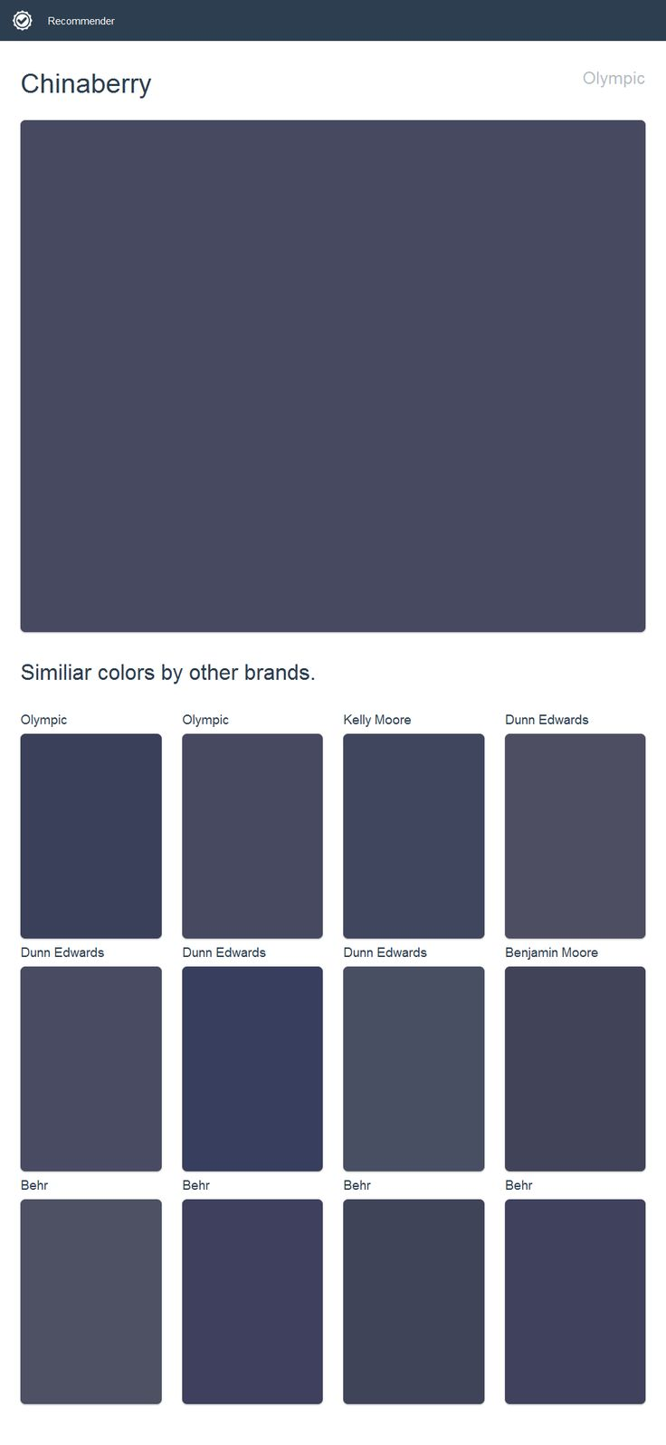 Chinaberry Olympic Click The Image To See Similiar Colors By Other Brands House Paint Exterior Dutch Boy Paint Valspar