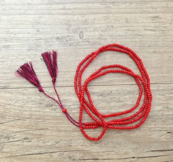 Coral Red Long Beaded Necklace Black Pink by PiscesAndFishes, $22.00