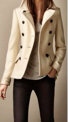 Nice take on a peacoat, tailored, simplified, sporty yet elegant.