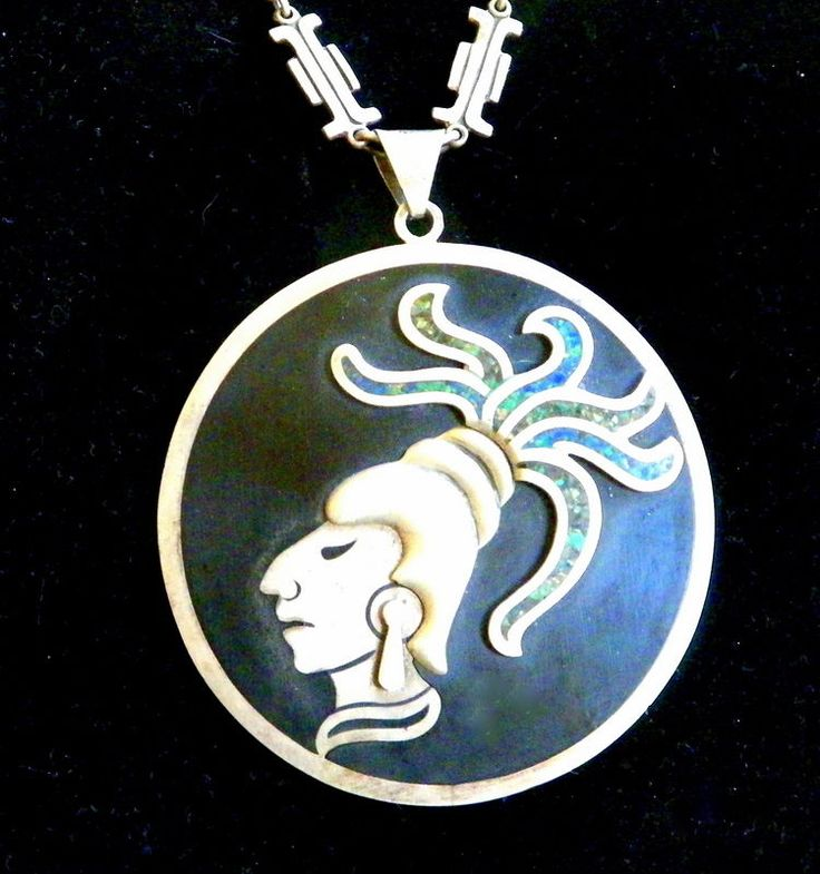 LARGE INLAID STERLING AZTEC PENDANT AND CHAIN, TAXCO #FGC