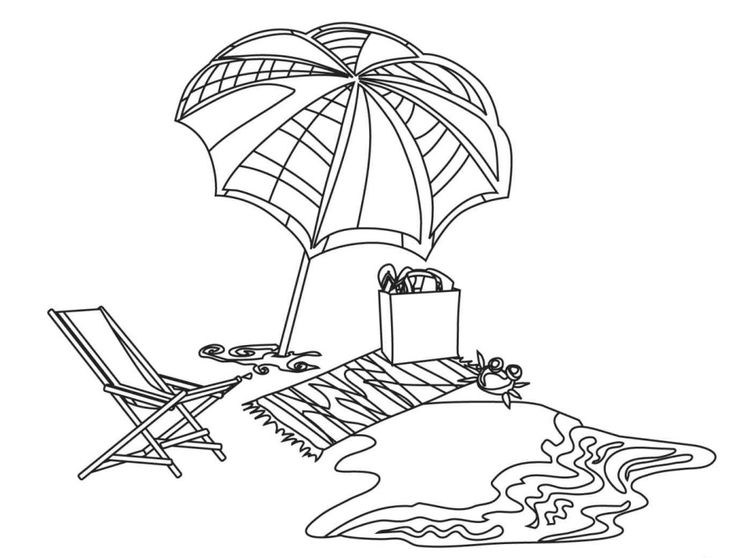 Beach Chair Coloring Pages Towel Page