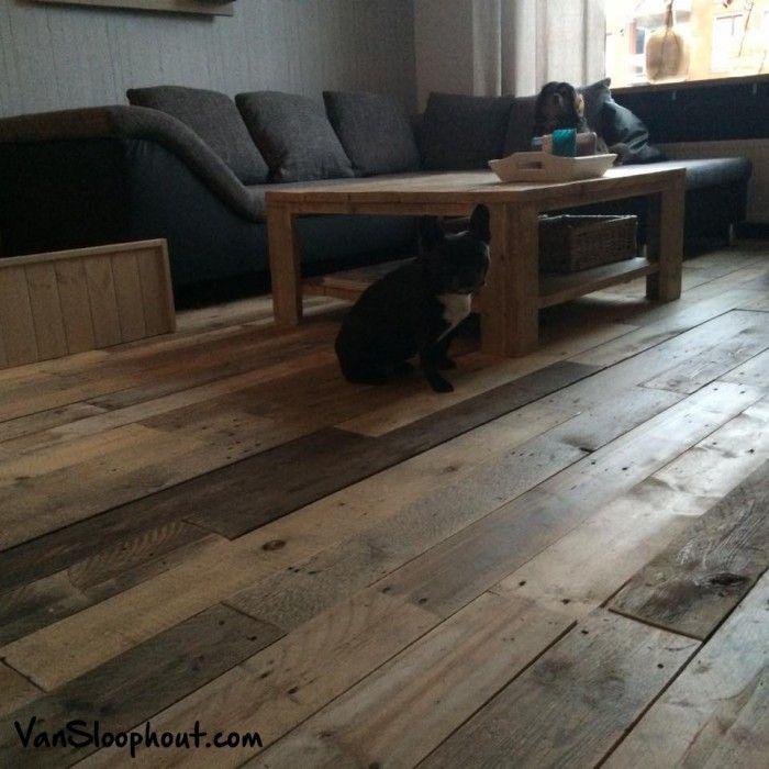 Mooie strak gelegde vloer van sloophout / hout. Verkrijgbaar bij Van Sloophout excl. hondjes ;)