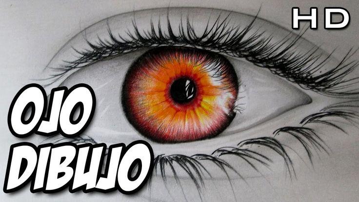 Dibujo de un ojo de fuego, dibujo de un ojo realista con lápices de colores