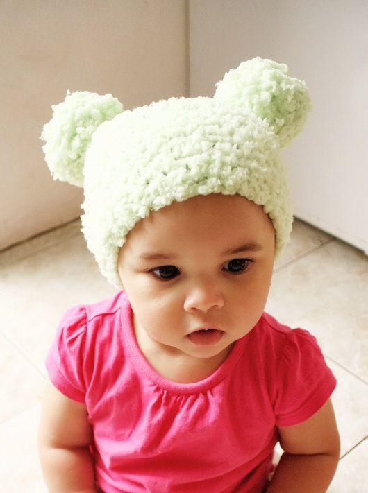 6 to 12m Green Baby Pom Pom Hat Crochet Pom Pom Beanie Crochet Baby Hat  Lime Green Pom Pom Photo Pro  dcb1546b6619
