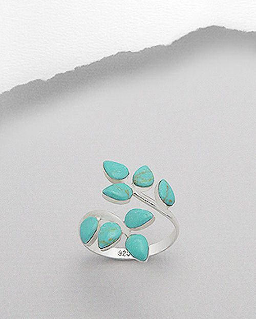 Turquoise Leaf Ring Bypass Leaves Sterling Silver - Auralee Company