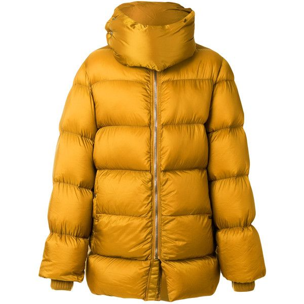 Rick Owens puffer jacket ($1,656) ❤ liked on Polyvore featuring men's fashion, men's clothing, men's outerwear, men's jackets, yellow, mens oversized denim jacket, mens native american jacket and mens yellow jacket