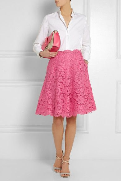 Wow, bubble gum pink lace skirt from by Valentino.