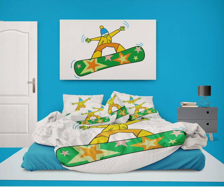 Extremely Stoked Snowboarder Kid on Stars Snowboard Duvet Cover from Extremely Stoked Eco friendly Snowboard Bedding Collection by SnowboardBedding on Etsy