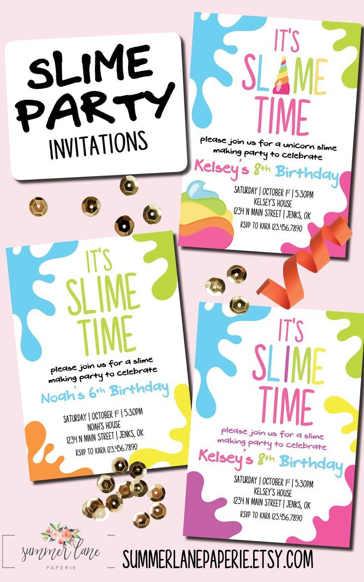 Slime Party Invitation For Girls