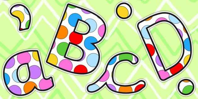 Multicoloured Polka Dot Display Lettering Lowercase - display