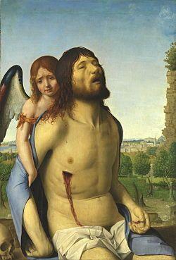 Nos encontramos ante un cuadro llamado Cristo muerto sostenido por un ángel, realizado por Antonello da Messina, hacia 1475-76.